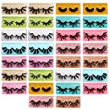 Newcally Mink Lashes 30 Pairs Wholesale Bulk 25MM Long Lashes with Portable Boxes 10 Styles Mixed Fluffy Volume False Eyelashes Thick Reusable Lashes Multipack