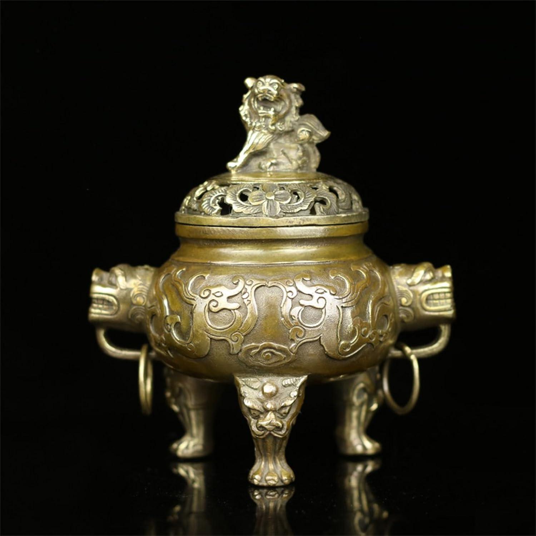 Fine Copper Antique Incense Burner Plutus Feng Shui Aroma Stove-B