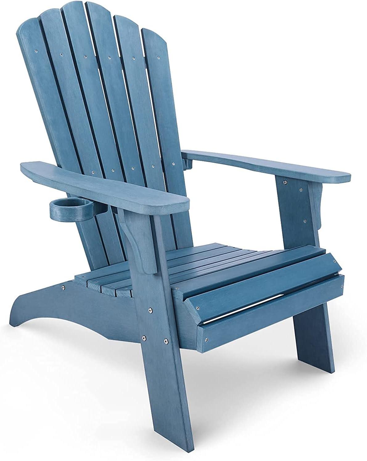 Silla de Jardín Adirondack de Imitación de Madera con Portavasos, Silla de Exterior Resistente a la Intemperie y a la Decoloración, Ideal para Brasero y Terraza, Carga Máxima: 158KG, Azul