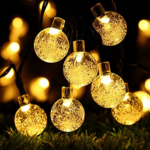 Globe Battery Operated String Lights with Timer - RECESKY 60 LED 29ft Crystal Ball Decor Lighting for Outdoor Indoor Garden Party House Garland Ornament Christmas Tree Decorations - Warm White
