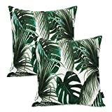 Booque Valley Tropical Leaves Pillow Covers, Pack of 2 17 x 17 Inch Palm Tree Leaves Cushion Covers, Vibrant Digital Printing on Polylinen Woven Fabric Pillow Cases, Decorative Pillows(Green)