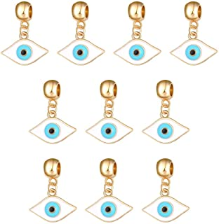 Mystart 10 Pieces Gold Plated Turkish Blue-Green Evil Eye Pendants Dangle Beads Charms DIY Bracelet Accessories