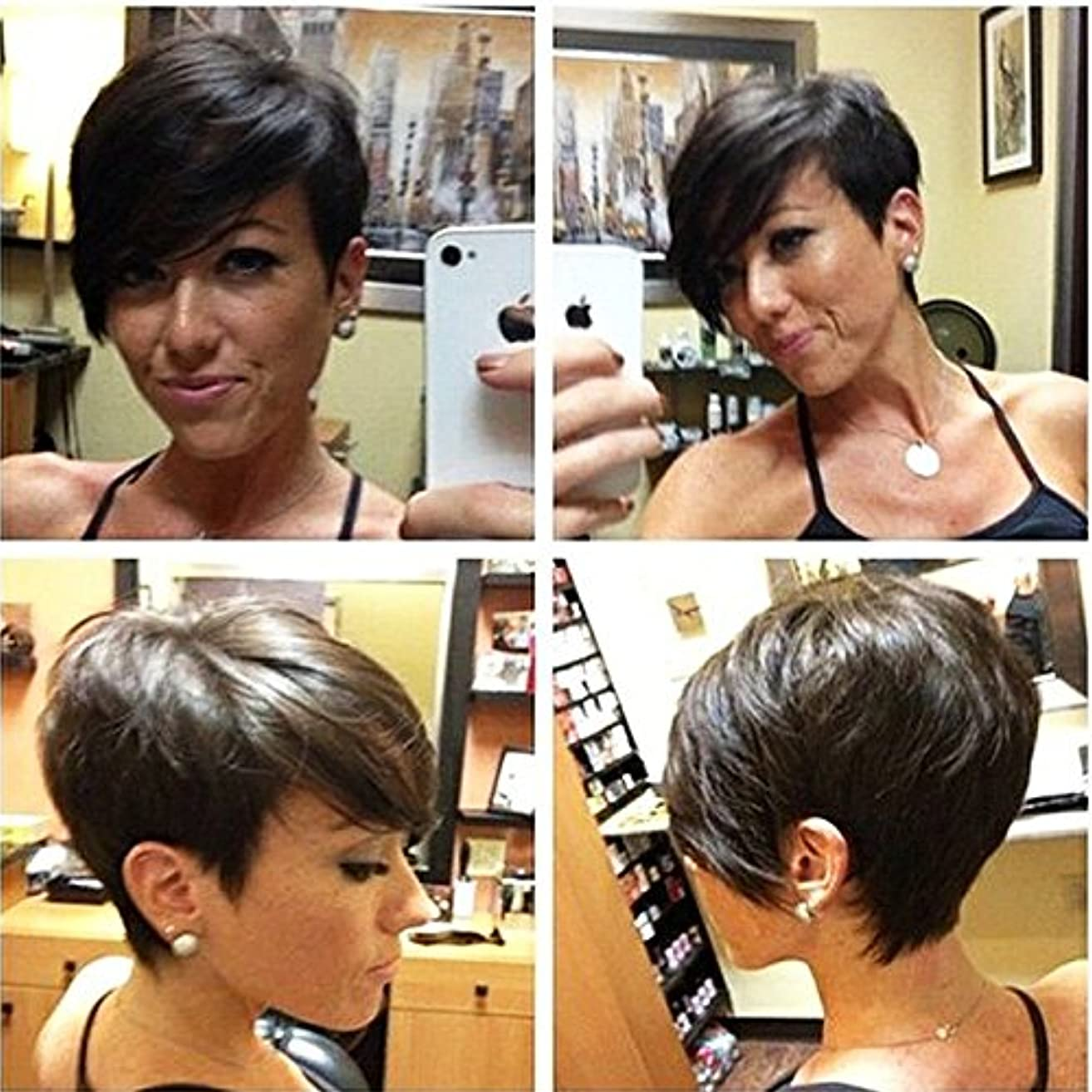 HOTKIS Brazilian Hair Short Bob Wigs for Women Side Part Short Human Hair Bob Wigs Pure Hair can be dyed and permed (Long Bangs-Natural color)