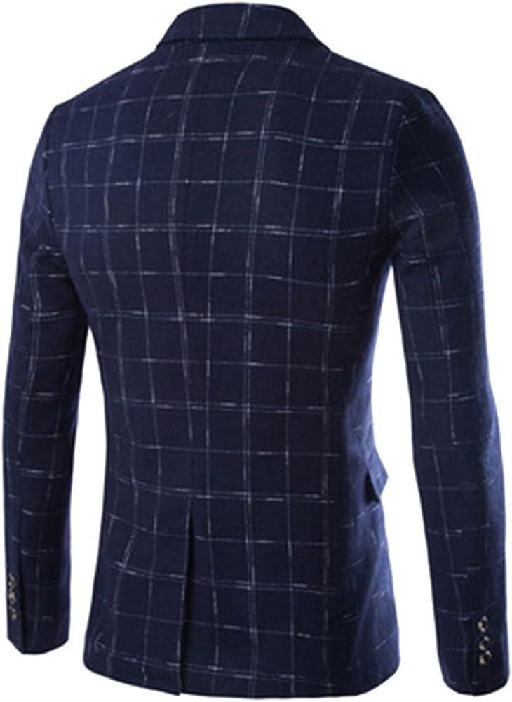 Men's Double Breasted Plaid Suit Jacket Casual Slim Fit Tweed Blazer Sport Coat