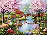 Dimensions Gold Collection Counted Cross Stitch Kit, Japanese Flower Garden, 16 Count Light Blue Aida, 12'' x...