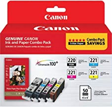 Canon PG-220/CL-221 with Photo Paper 50 Sheets Compatible to MP980, MP560, MP620, MP640, MP990, MX860, MX870, iP4600, iP36...