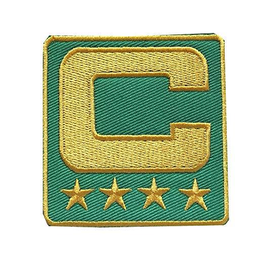 Yibuoo Captain C Patch bestickt Aufnäher zum Aufbügeln (4 goldene Sterne) zum Aufnähen für Jersey Fußball, Baseball. Fußball Hockey Trikot lichtgrün