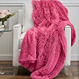 The Connecticut Home Company Soft Shag with Sherpa Bed Throw Blanket, Many Colors, Fluffy Large Luxury Reversible Blankets, Fuzzy Washable Throws for Couch, Beds, Home Bedroom Decor, 65x50, Hot Pink