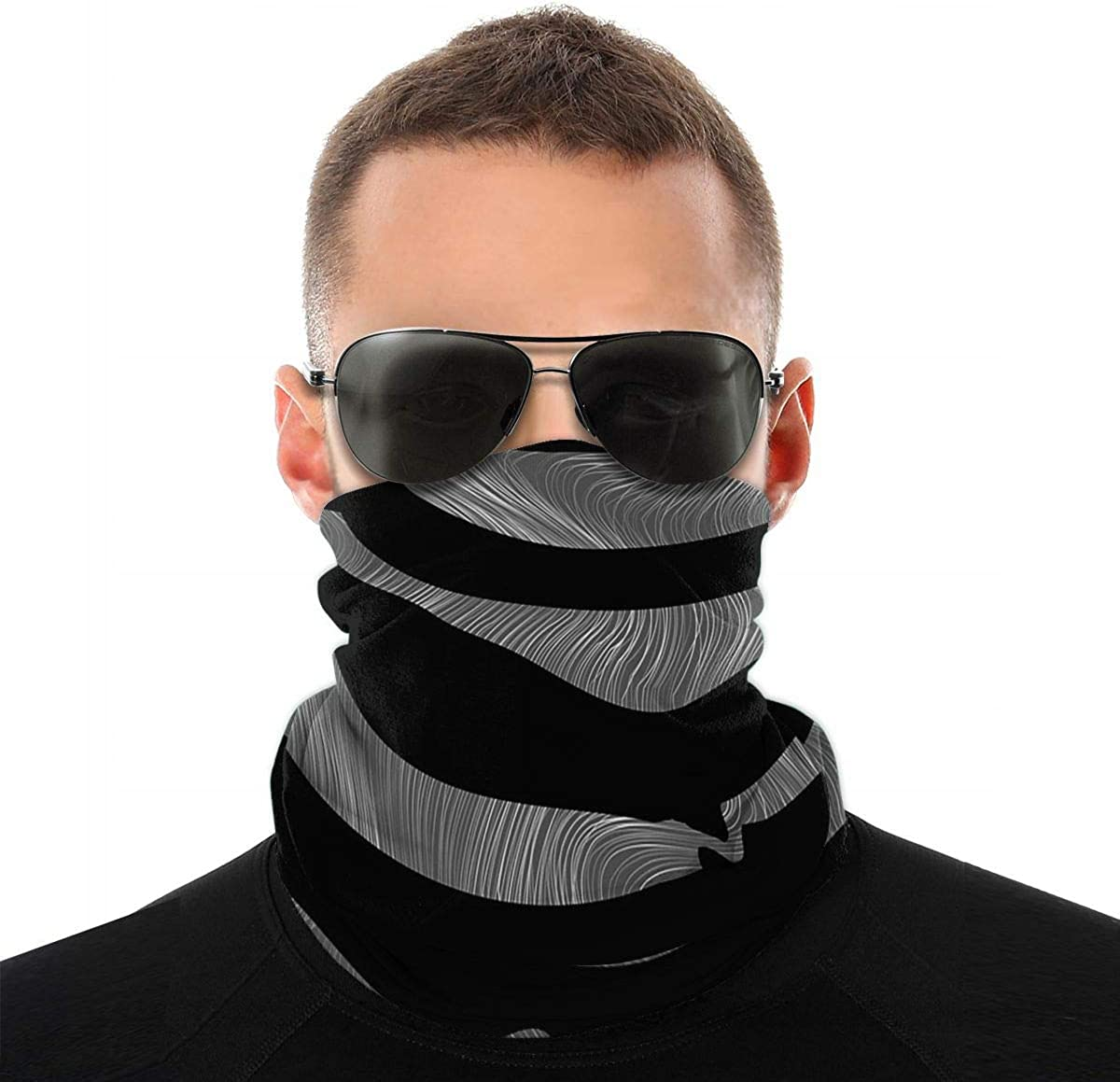 KiuLoam Black and Gray Stripes Pattern Seamless Face Mask Bandanas Neck Gaiter for Men and Women, Multifunction Headband Scarf for Dust, Outdoors, Sports