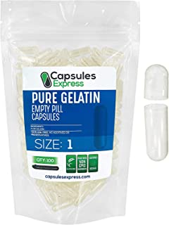 Capsules Express- Size 1 Clear Empty Gelatin Capsules 100 Count - Kosher and Halal - Pure Gelatin Pill Capsule - DIY Powde...