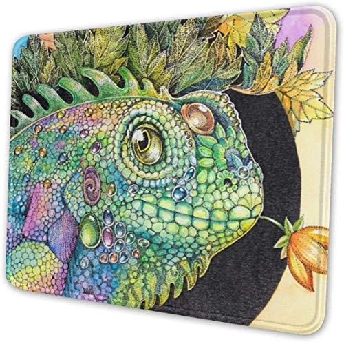 Preisvergleich Produktbild Iguana Lizard Chameleon Mouse Pad with Stitched Edge,  Premium-Textured Mouse Mat,  Non-Slip Rubber Base for Laptop,  8.3 x 10.3 inches