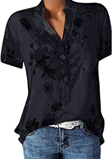 Women Flower Printing Tops Pocket Short Sleeve Blouse Button Down Shirt Ladies Casual Plus Size T-Shirts