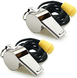 Hipat Whistle, 2 Pack Stainless Steel Sports Whistles with Lanyard, Loud Crisp Sound..
