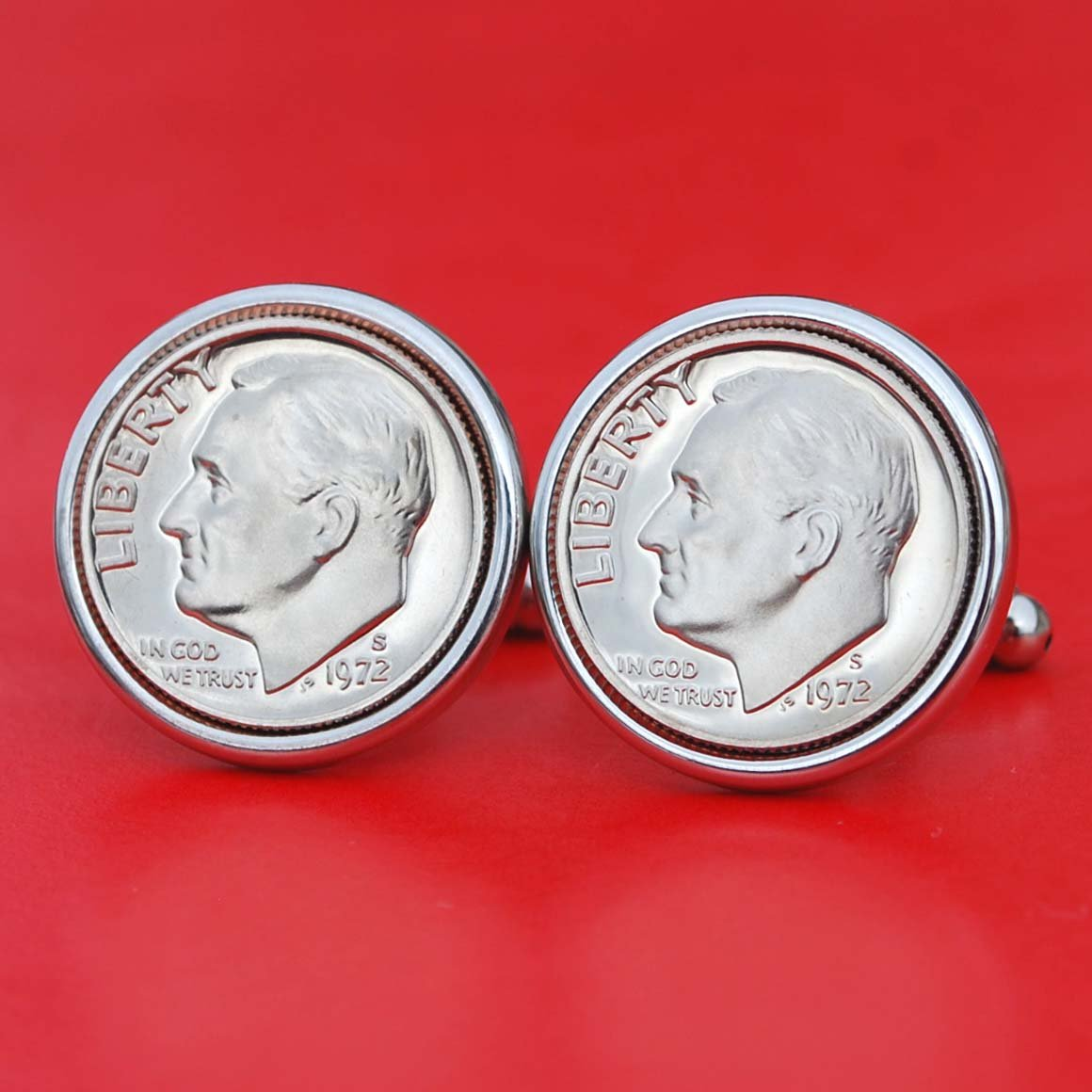 US Branded goods 1972 Roosevelt Dime Gem BU Coin shopping 10 Cufflink Cent Uncirculated