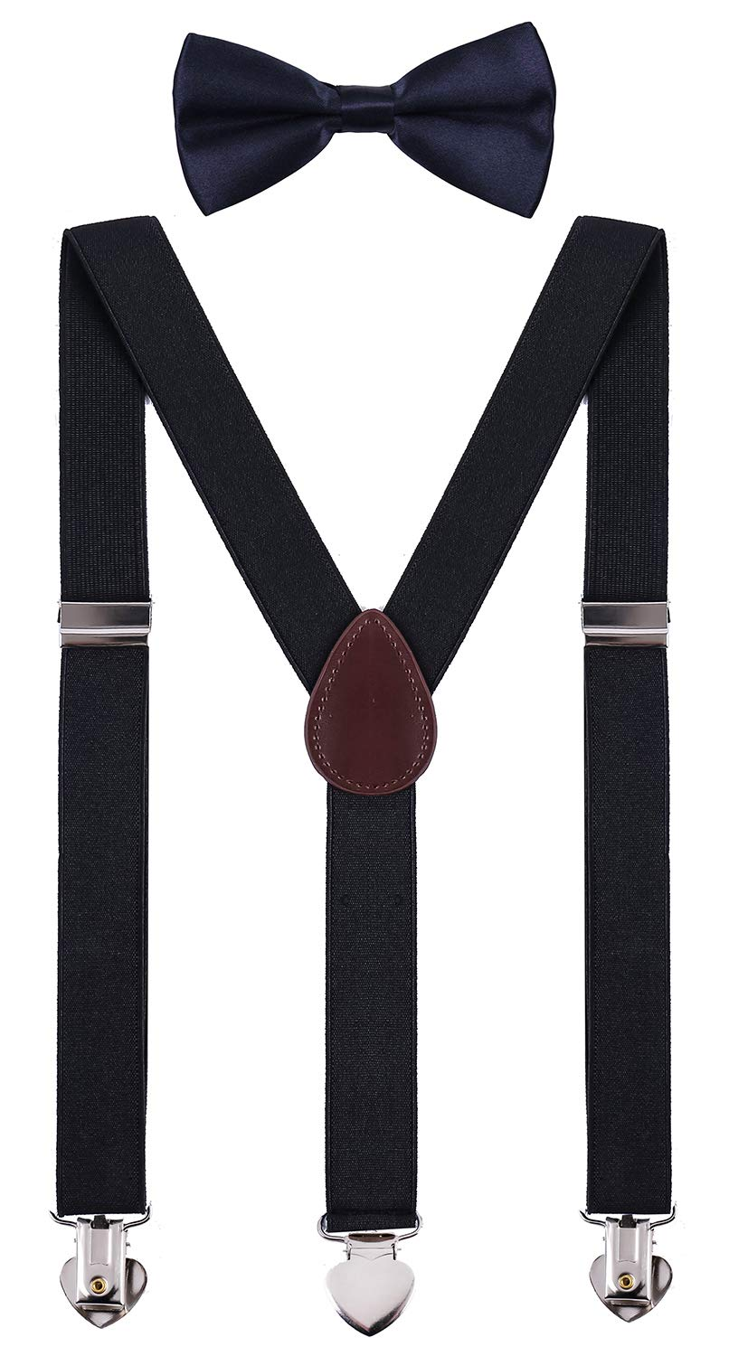 WDSKY Kids Suspenders and Bow Tie Set for Wedding Adjustable