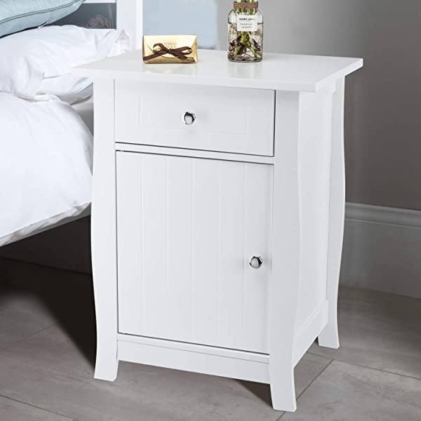 Bonnlo Nightstand Bedside End Side Table Wooden Accent Table With Drawer And Cabinet For Home Bedroom College Dorm White