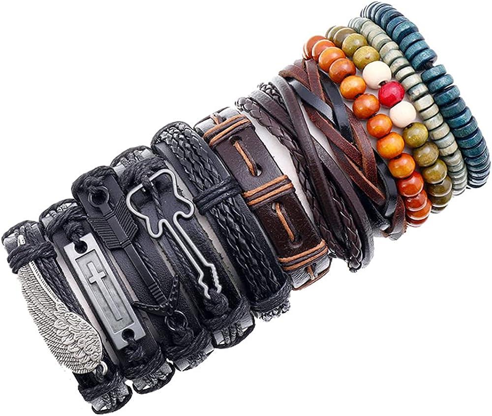 12Pcs Charm Leather Weaved Bracelets Set for Men Women Cool Braided Leather Wrist Cuff Bracelets Handmade Wooden Beaded Bracelets Ethnic Tribal Linen String Adjustable Bracelets