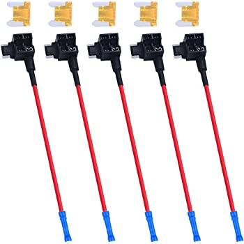Low Profile Mini Blade Fuse Holder & Fuse Kit - Muhize Car Add-a-circuit Fuse Adapter 12V Tap Fuse Holder with 5 Amp Low Profile Mini Blade Fuse (5 Pack)