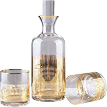 Crystal Whisky Drinkware Set with 1x Decanter (1100 ml) and 2 X Whisky Tumblers (200 ml),Lead Free Crystal Whisky Set,Suit...