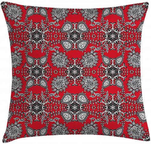 BONRI Fodera per Cuscino Mandala Rossa, Cuscino Doodle Mandala Fiore edera turbinii Immagine Design Classico, Federa Decorativa Quadrata Accento, Scarlatto Bianco Nero , (16'x16 / 40x40 cm