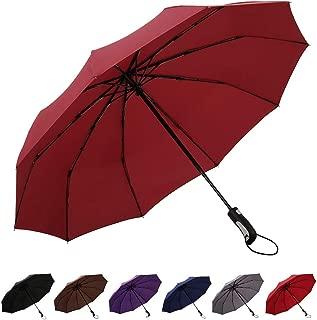 AVEEN Travel Umbrella Windproof Umbrella Auto Open/Close Button Multiple Colors Available (RED)