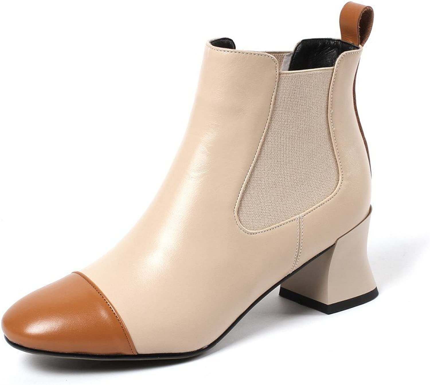 Nine Seven Genuine Leather Women's Square Cap-Toe Ankle Booties - Handmade Chunky Low Heel Walking Dress Boots