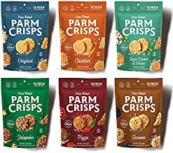 ParmCrisps Cheese Crisps 1.75oz 6 Count Variety Pack, Keto Gluten Free Snacks   Original Parmesan, Pizza, Sour Cream & Onion, Cheddar, Jalapeno, and Sesame   100% Cheese Crisps, Gluten Free, Keto-Friendly, Sugar Free, Low Carb, High Protein