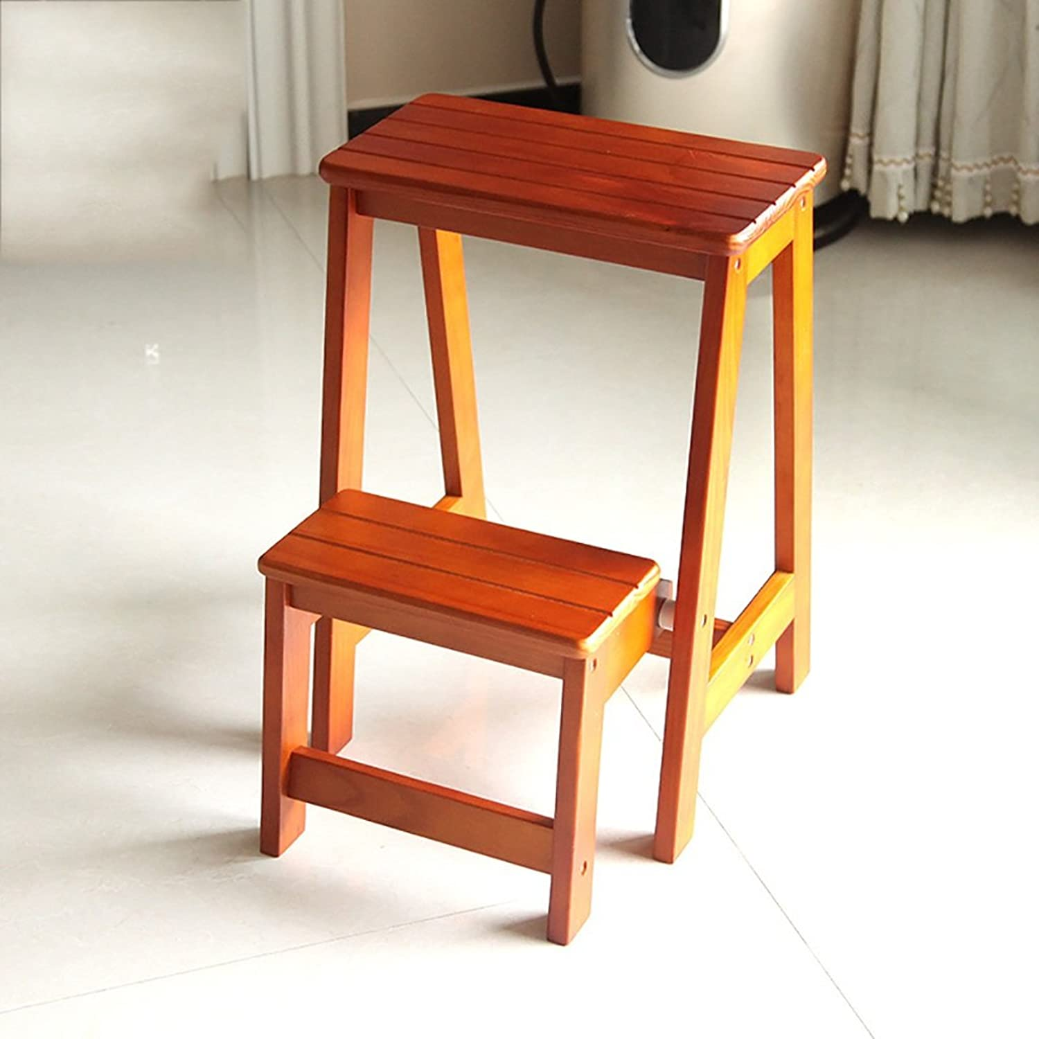 PENGFEI Folding Chair Stairs Multifunction Dual Use Pine 2 Steps, 4 colors, 29  48  55CM Furniture (color   Light Walnut)