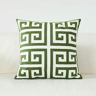 Oferta Cojines Decorativos.Herringbone Verde Marron Con Cubierta Cojin De Lana