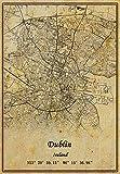 Irland Dublin Landkarte, Wandkunst, Poster, Leinwanddruck,