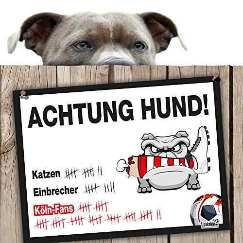 Hunde-Warnschild Schutz vor Köln-Fans | Fortuna Düsseldorf, Borussia M'Gladbach & alle Fußball-Fans, Dieser Revier-Markierer schützt Haus & Hof vor Köln-Fans | Achtung Vorsicht Hund Bissig