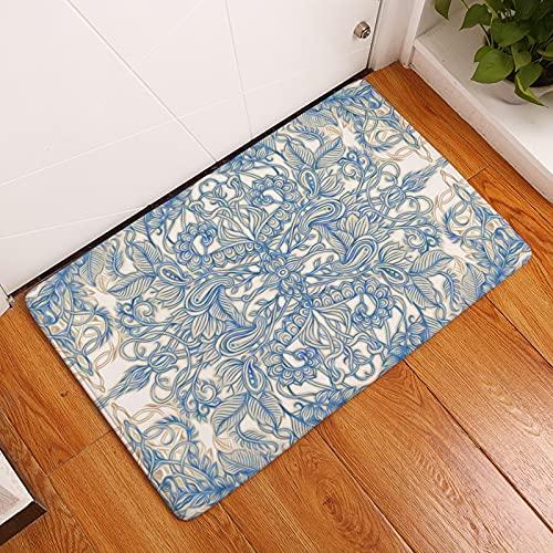 HLXX Floral Mandala Printed Absorbent Doormat Kitchen Mat Anti Slip Machine Washable Mats Floor Mat Doormat A4 50x80cm