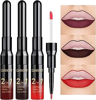 QIBEST 3 Pcs Matte Velvet Liquid Lipstick Lip Liner - 2 in 1 Double-End Nude Color Waterproof Long Lasting Durable Non-Stick Cup Makeup Set (Goth)