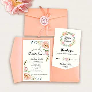 Doris Home 50pcs 4.7 x7.1inch Tri-fold wedding invitations for Bridal Shower, Dinner, Beach theme, Party with Ribbon and Tags, DH0001 (Pink, 50pcs Blank)