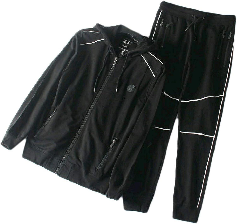 Fieer Mens Casual Knitted Hooded Zipup Jogger Sweatshirt Set