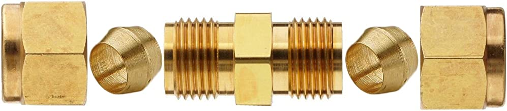 Compression Tube Fitting, Brass Union, Brake Line Adapter, Tube OD 3/8