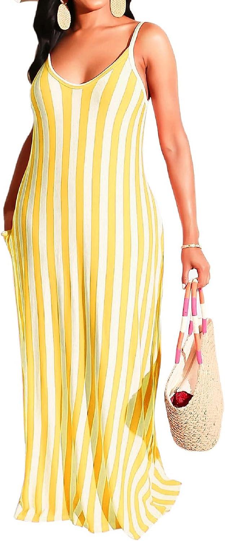 SeNight Womens Casual Maxi Dresses Summer Sexy Stripe Sleeveless Plus Size Loose Long Floor Length Sundress with Pocket