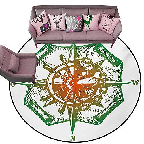 Entrance Modern Area Rugs Compass,Retro Design Windrose with Anchor and Chains Marine Elements of Navigation,Forest Green Red Diameter 72' Round Polyester Area Rug Mat