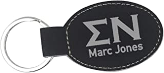 Sigma Nu Leatherette Oval Keychain