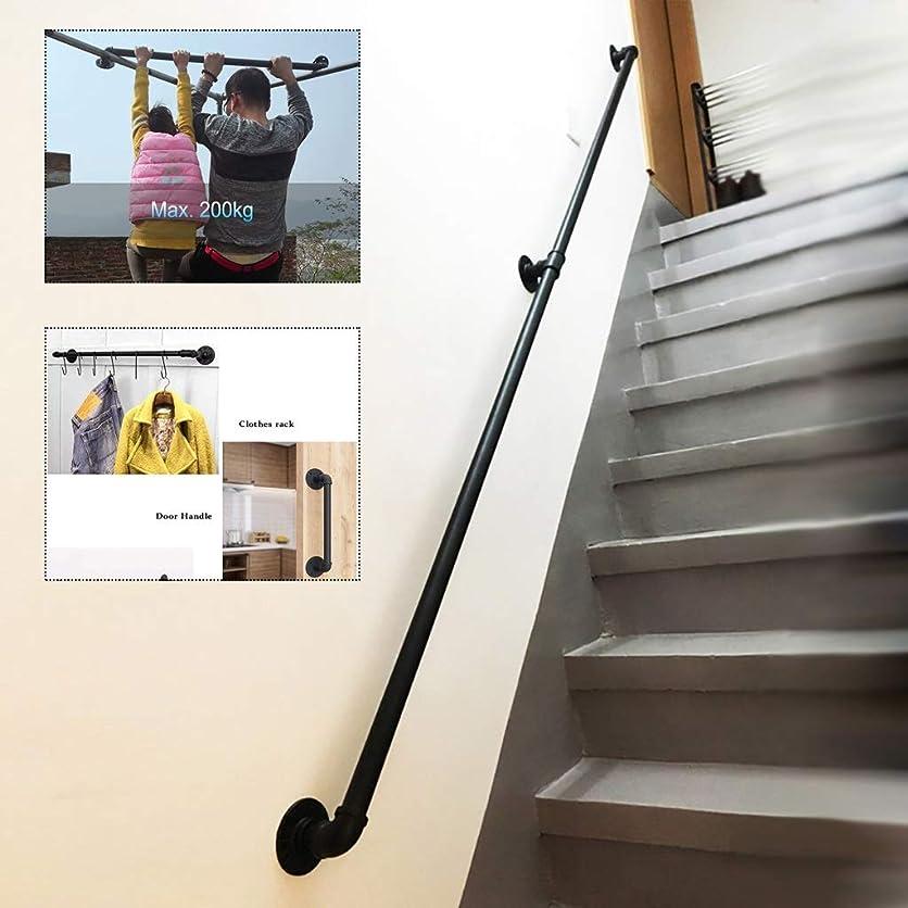 太平洋諸島欠陥風変わりな手すり-キット一式。 障害者の高齢者や子供向けの工業用マットブラック錬鉄製のパイプウォールマウント階段の手すり、屋内および屋外の安全ハンドレールサポートバー (Size : 220cm)