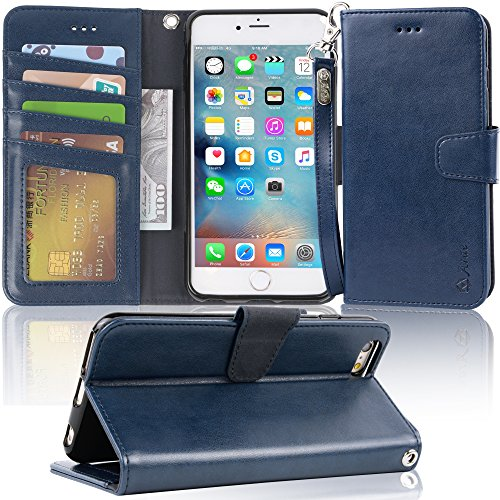 Arae Wallet case for iPhone 6s Plus/iPhone 6 Plus [Kickstand Feature] PU Leather with ID&Credit Card Pockets for iPhone 6 Plus / 6S Plus 5.5 inch (not for 6/6s) (Blue)
