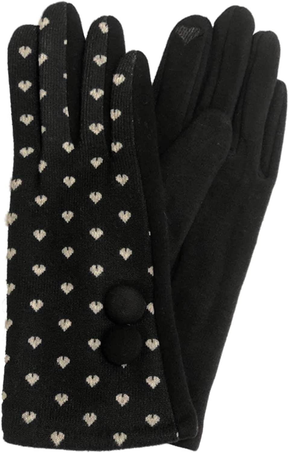 Womens Black & White Hearts Stretch Fit Texting & Tech Touchscreen Gloves