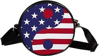 Coosun Yin Yang Amerika-Flagge, runde Umhängetasche, Schultertasche, Handtasche, Umhängetasche, für Kinder und Damen