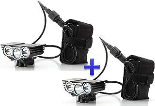 Theoutlettablet® Pack 2 Focos Luz delantera - Foco frontal para Bici 6000 lúmenes Linterna LÁMPARA TORCH frontal 3x CREE XM-L U2 LED de bicicleta /bici lámpara Luz LED frontal para manillar de bicicletas (3 focos, 6000 Lumens) con batería y cargador COLOR NEGRO