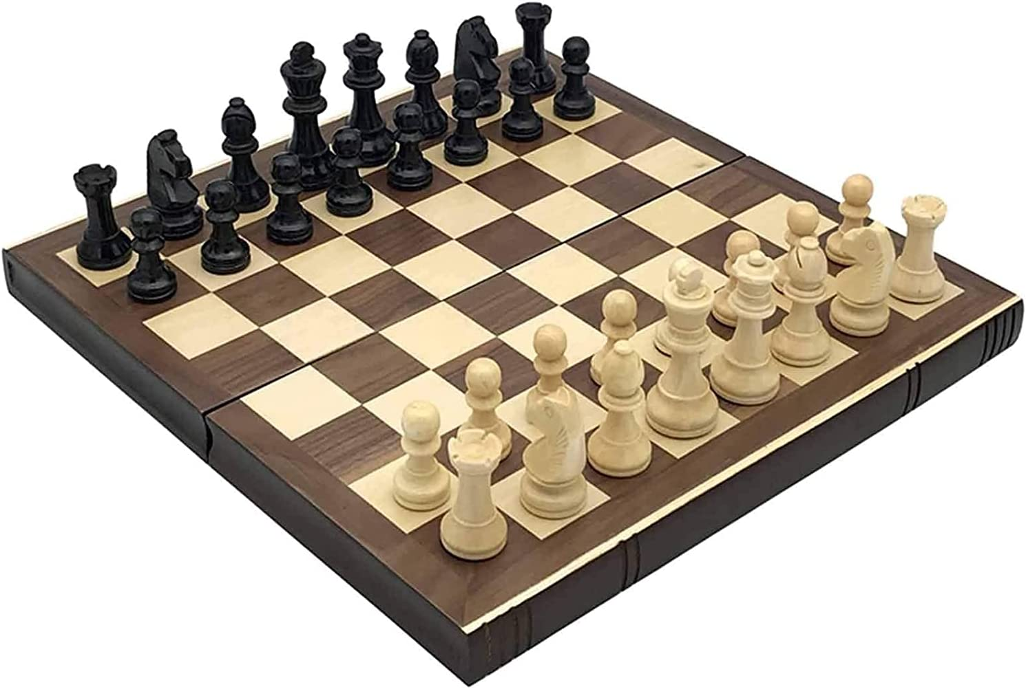 ZHZHUANG Chess Set Folding Board Wooden Solid Box Table Chessman New life Excellence