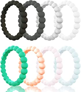 Egnaro Silicone Wedding Rings Women, Thin Stackble Rubber Wedding Bands,Size 3-10,Comfortable fit,No-Toxic,Skin Safe