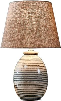 Maison Lampes de Table Lampe De Table en Céramique Chambre Lampe De Chevet Chaude Bouton Interrupteur Lampes De Salon Gradation Outils D'éclairage (Color : A, Size : 18 * 42cm)