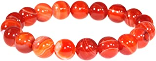 Women Natural Sardonyx Red Banded Agate Crystal Bracelet Round Bead Bangle