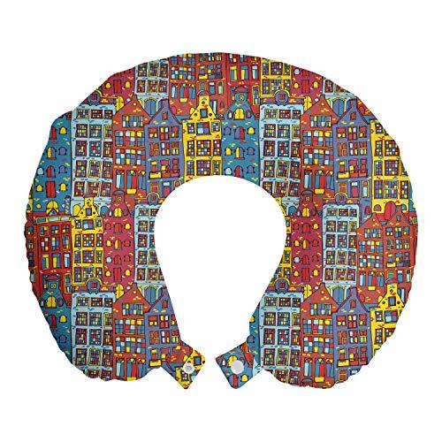 ABAKUHAUS cartoon Apartments Reiskussen, schets Amsterdam, Reisaccessoire met Geheugenschuim voor Vliegtuig en Auto, 30 cm x 30 cm, Veelkleurig