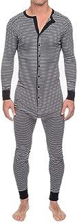 LZJDS Mono de hombre todo en uno para hombre con botones de una pieza para hombre, diseño de rayas, color gris, S